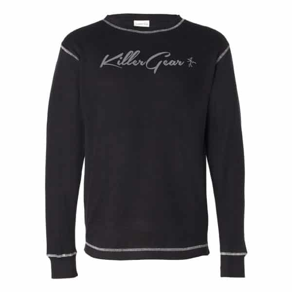 Black Long sleeve crew neck KillerGear thermal with text and logo 1