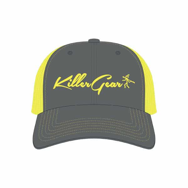 Snapback Cap Charcoal/Neon Yellow with KillerGear text and logo 1