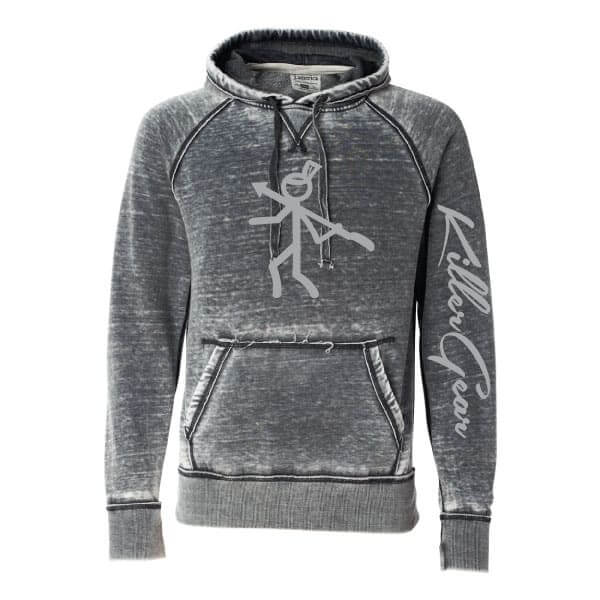 Burnout hoodie with KillerGear logo on full front and text down left sleeve 1