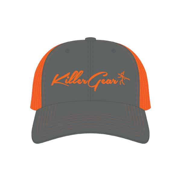 Snapback Cap Charcoal/Neon Orange with KillerGear text and logo 1