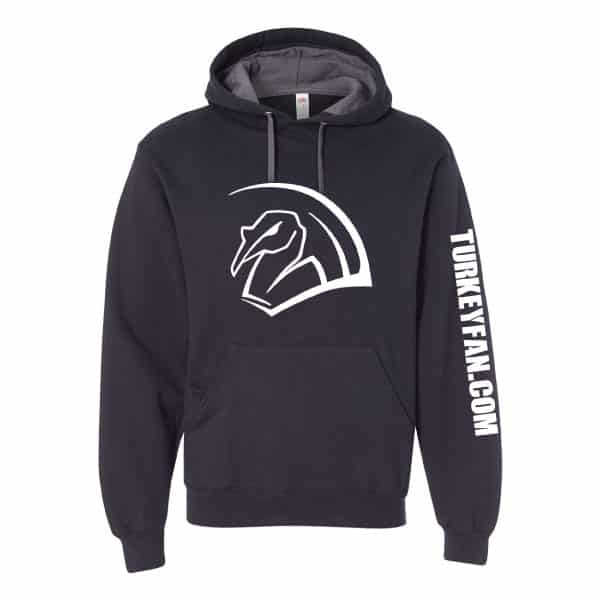 Soft spun hoodie with white TurkeyFan Logo full front and text down left sleeve. 1