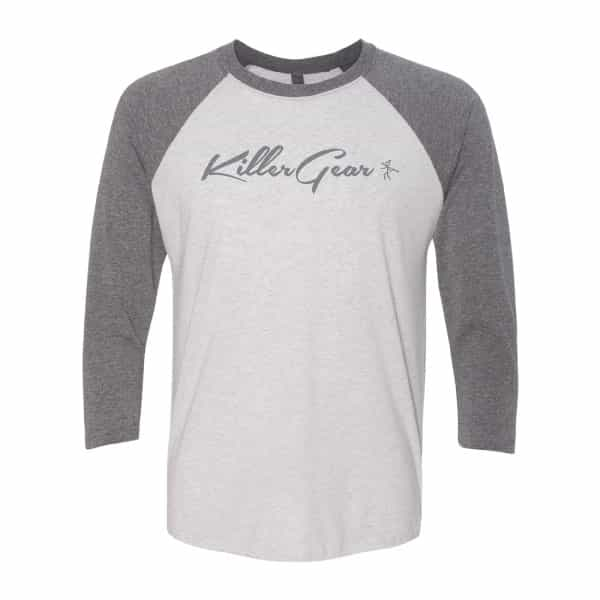Two Toned Vintage 3/4 sleeve Raglan with KillerGear text and logo center chest. 1
