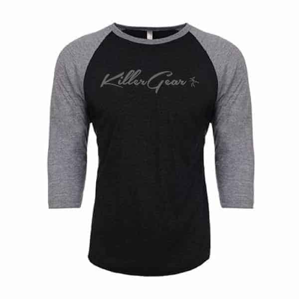 Two Toned Vintage 3/4 sleeve Raglan with KillerGear text and logo 1