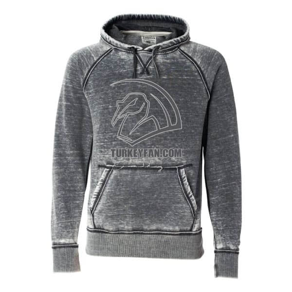 Burnout hoodie with TurkeyFan logo and text full front 1