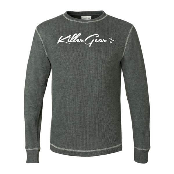 Charcoal Long sleeve crew neck KillerGear thermal with text and logo 1
