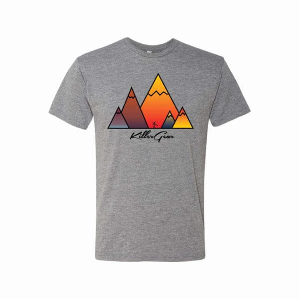 Super Soft Grey T-Shirt with KillerGear Mountain Design 1